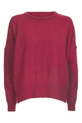 Topshop Tall Zip Side Crew Neck Knitted Jumper Raspberry