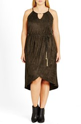 City Chic Plus Size Women's Faux Suede High Low Dress Thyme