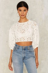 Eyelet It Be Crop Top White