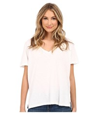 Michael Stars Supima Cotton Slub Short Sleeve V Neck White Women's T Shirt