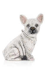Judith Leiber Couture Maxine French Bulldog Clutch Silver