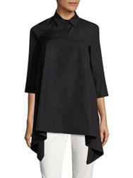 Max Mara Solista Asymmetrical Cotton Shirt Black