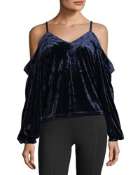 Romeo And Juliet Couture Cold Shoulder Crushed Velvet Blouse Navy
