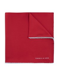 Turnbull And Asser Basic Solid Pocket Square With Border Red