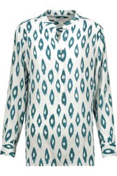 Equipment Arya Printed Washed Silk Shirt Teal