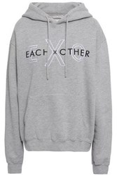 Each X Other Embroidered French Cotton Terry Hooded Sweatshirt Stone