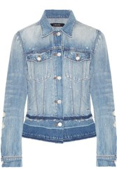 J Brand Deena Distressed Denim Jacket Mid Denim