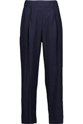 Raquel Allegra Easy Pleated Silk Gauze Straight Leg Pants Midnight Blue
