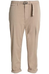 James Perse Cropped Belted Cotton Gabardine Tapered Pants Beige