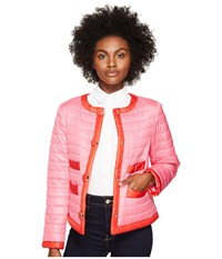 Kate Spade 22 Quilted Contrast Binding Jacket Pink Swirl