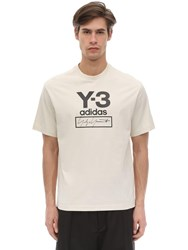 Y 3 Stacked Logo Cotton Jersey T Shirt White