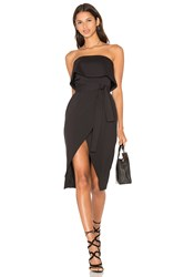 Lavish Alice Bandeau Cropped Tie Front Midi Dress Black