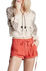 Women's Free People 'Melvin' Cotton Cargo Shorts Red