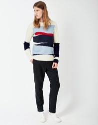Gant Rugger Intarsia Block Jacquard Jumper Cream