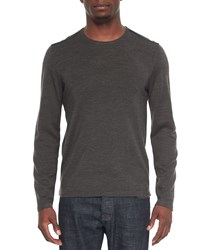 John Varvatos Leather Trimmed Crewneck Sweater Charcoal Grey