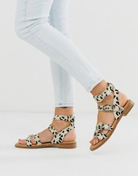 Bronx Leather Western Buckle Sandals In Dalmation Print Multi