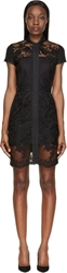 Denis Gagnon Black Floral Lace Short Sleeve Midi Dress