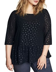 Junarose Polka Dotted Peplum Top Black