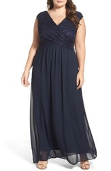 Sangria Plus Size Women's Lace And Chiffon Surplice Gown Midnight