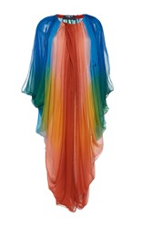 Paule Ka Silk Ombre Draped Dress With Tie Blue Green Red