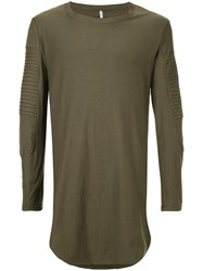First Aid To The Injured Long Line Shirt With Ribbed Panel Details Unisex Cotton Green
