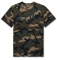 Valentino Camouflage Print Cotton Jersey T Shirt Army Green