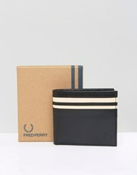 Fred Perry Leather Billfold Wallet With Coin Pocket Black