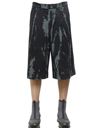 Dries Van Noten Tie Dye Printed Cotton Denim Shorts