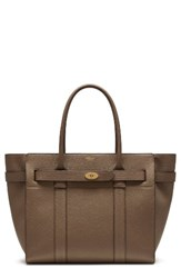 Mulberry Bayswater Zipped Leather Satchel Grey Clay