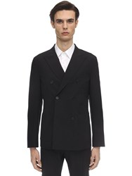 Tonello Double Breasted Stretch Wool Jacket Black