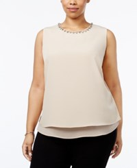 Calvin Klein Plus Size Embellished Layered Shell Latte