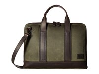 Frye Carter Slim Briefcase Olive Canvas Briefcase Bags
