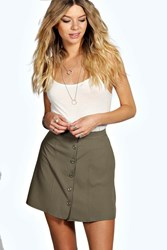 Boohoo Woven Button Front A Line Mini Skirt Khaki