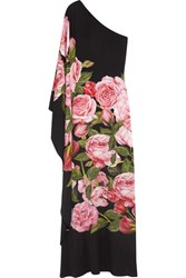 Dolce And Gabbana One Shoulder Floral Print Silk Charmeuse Gown Black