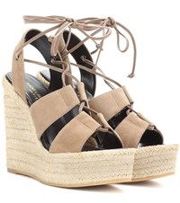 Saint Laurent Espadrille 95 Suede Wedge Sandals Beige