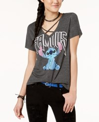 Freeze 24 7 Juniors' Strappy Stitch Graphic T Shirt Heather Charcoal