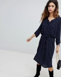 Soaked In Luxury Waist Tie Shirt Dress With Gathered Sleeve Dress Blue