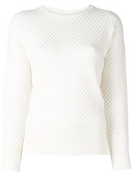 Moncler Quilted Knit Sweater White