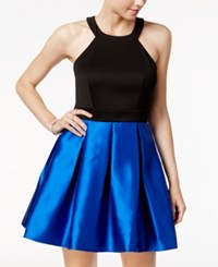 Teeze Me Juniors' Colorblocked Fit And Flare Dress Royal Blue Black