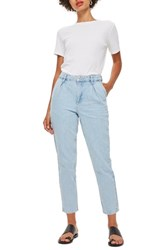 Topshop Pleated Mom Jeans Light Blue