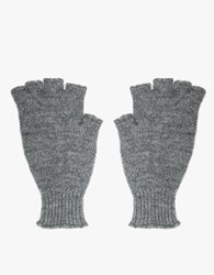 Mhl Rib Cuff Fingerless Gloves Marl Grey