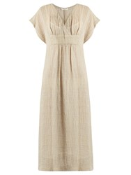 Masscob V Neck Crinkled Linen Blend Dress Beige