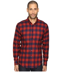 Naked And Famous Real Indigo Buffalo Check Button Down Red