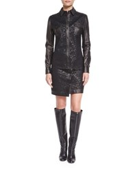 Tom Ford Lace And Leather Western Shirt Black