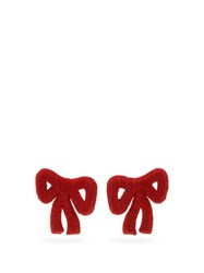 Rebecca De Ravenel Tie Me Up Cord Clip Earrings Red