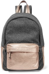 Brunello Cucinelli Metallic Leather Paneled Wool Blend Felt Backpack Anthracite