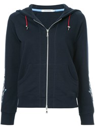 Guild Prime Floral Embroidered Zip Up Hoodie Blue