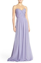 Women's Hayley Paige Occasions Strapless Crinkle Chiffon A Line Gown
