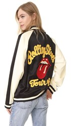 Madeworn Rock Rolling Stones Bomber Jacket Black Cream