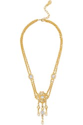 Ben Amun Gold Plated Stone Crystal And Faux Pearl Necklace One Size